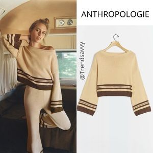 ANTHROPOLOGIE BEIGE Saturday Cropped Sweater Top S